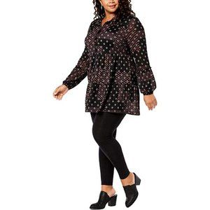 Style & Co. Womens Plus Peplum Printed Button-Down